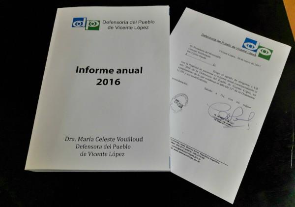 La Defensora del Pueblo de Vicente López hizo entrega del Informe Anual 2016, año de mayor actividad de la Defensoría desde su creación