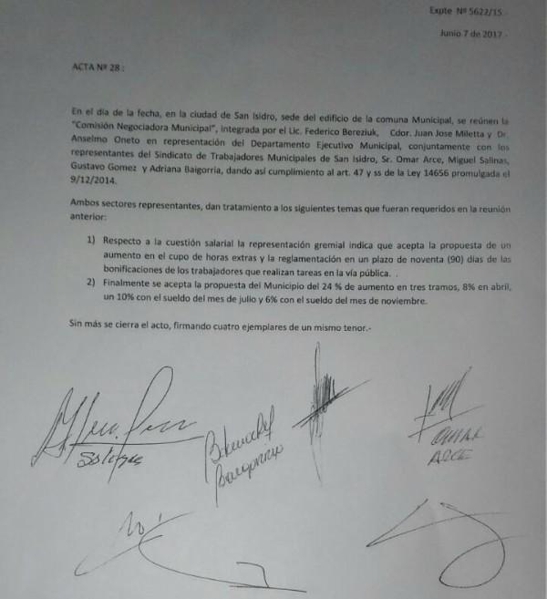 El municipio de San Isidro acordó en paritaria un aumento del 24% para sus trabajadores
