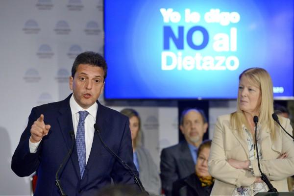 Los diputados nacionales Sergio Massa y Margarita Stolbizer, miembros del espacio de unidad