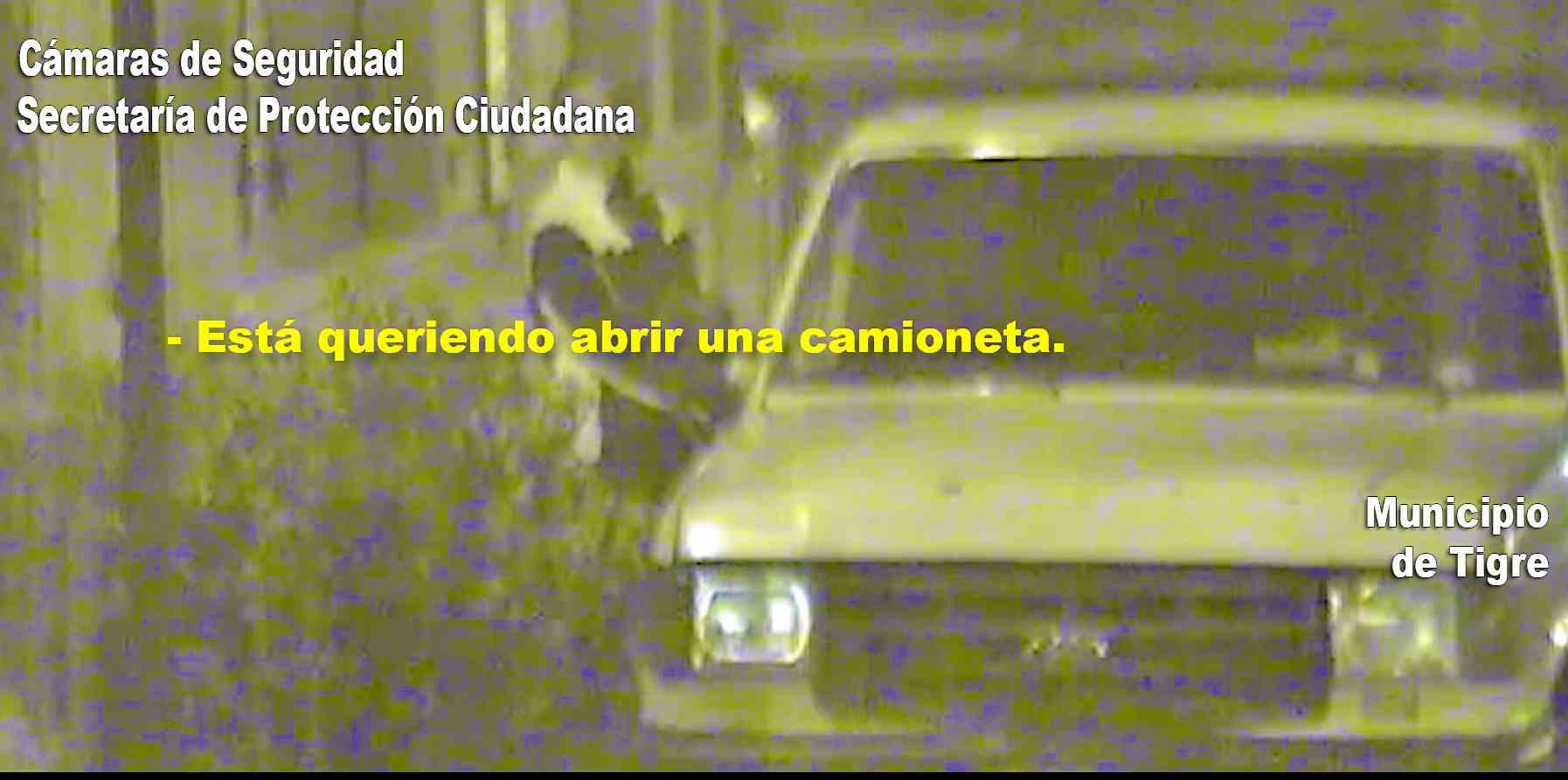 Por las cámaras de Tigre detienen a un hombre forzando la puerta de una camioneta