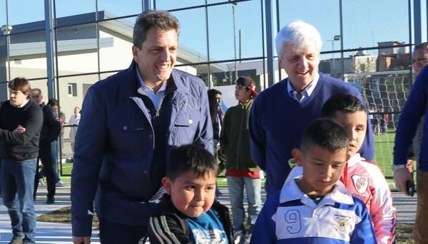 Sergio Massa, durante la ceremonia de inauguración del Polideportivo N°8 de San Fernando. Allí, acompañado del intendente local, Luis Andreotti, Massa