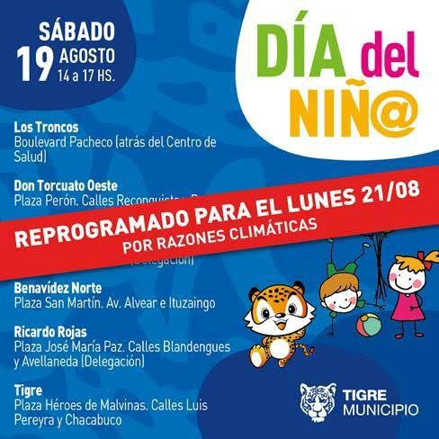 Reprograman la agenda de actividades por el Día del Niño en Tigre