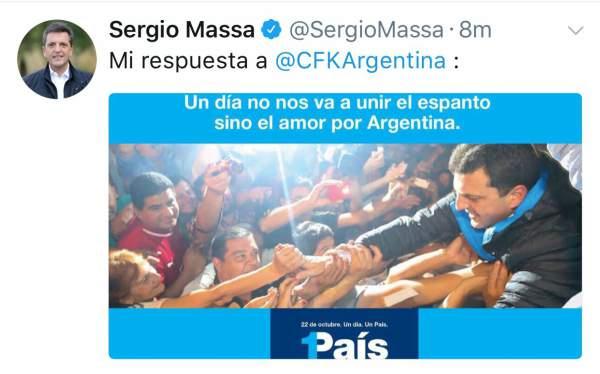 Sergio Massa contestó al llamado de unidad de Cristina