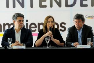 Los intendentes de Cambiemos escuchan a Vidal en un encuentro de gestión y campaña en San Isidro - Jorge Macri y Gustavo Posse