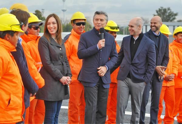 Macri, Vidal y Larreta inauguraron la segunda mano del viaducto del puente de la noria