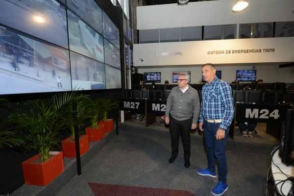 El intendente Julio Zamora recorrió las instalaciones del Centro de Operaciones Tigre (COT), que ahora cuenta con un nuevo videowall HD y cámaras de video vigilancia 4K.