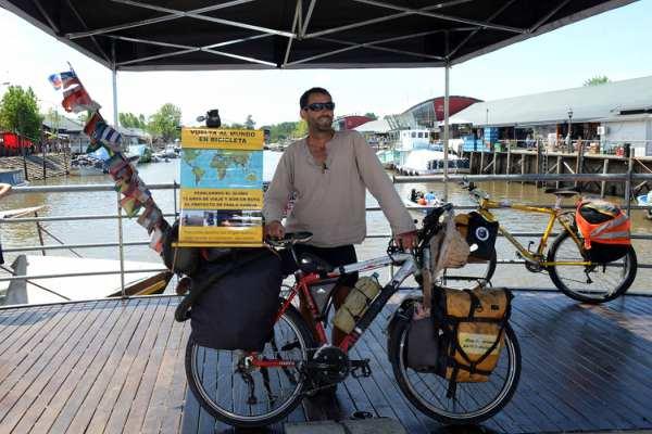 Tigre fue la última parada de la vuelta al mundo en bicicleta