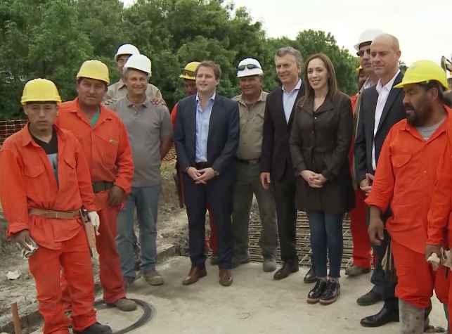 Macri visitó con Vidal una obra hídrica en San Fernando