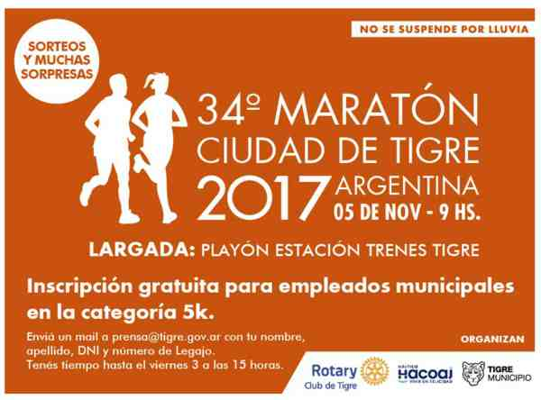 """Este domingo se correrá la 34° Maratón """"Ciudad de Tigre"""""""