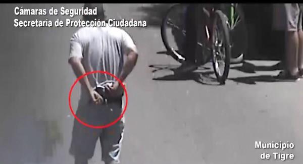 Por las cámaras detectan a un hombre armado en Tigre