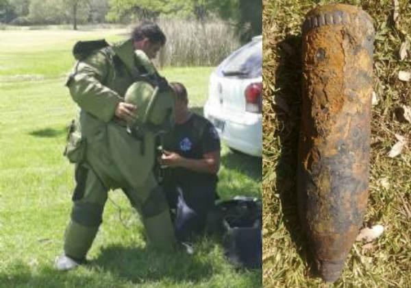 Hallan y detonan un misil que estaba enterrado en una cancha de golf en Escobar.