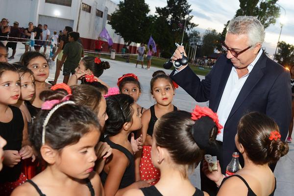 el intendente de Tigre, durante la fiesta de cierre en el polideportivo Sarmiento.