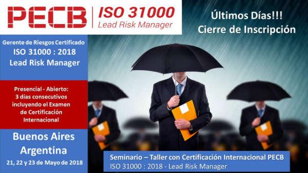 Certificación Internacional PECB ISO 31000:2018 Lead Risk Manager.