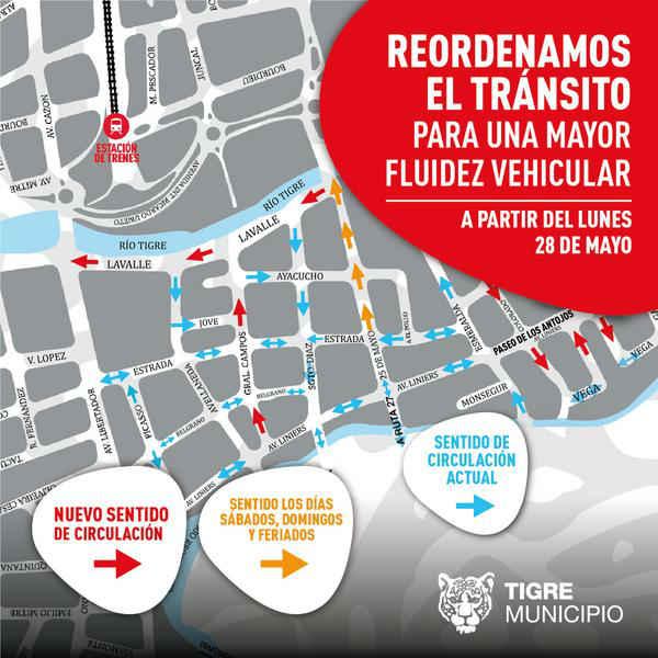 Nuevo sentido de circulación en más calles de Tigre centro