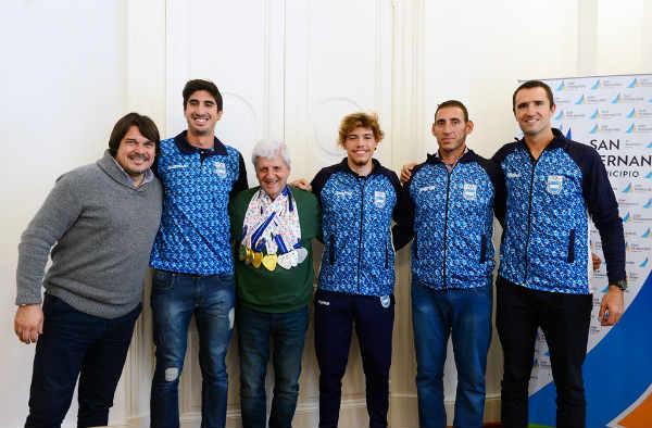 Andreotti recibió a los sanfernandinos Campeones de Remo de los Juegos ODESUR