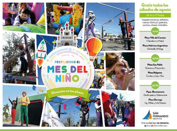 """Las plazas de San Fernando festejarán el """"Mes del Niño"""""""