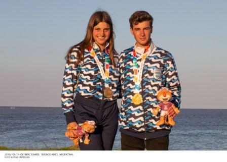 Dante Cittadini y Teresa Romairone obtuvieron la medalla de oro en la clase Nacra 15 de Vela en los Juegos Olímpicos de la Juventud Buenos Aires 2018 luego de quedar sextos en la regata definitoria de hoy y primeros en la clasificación general.
