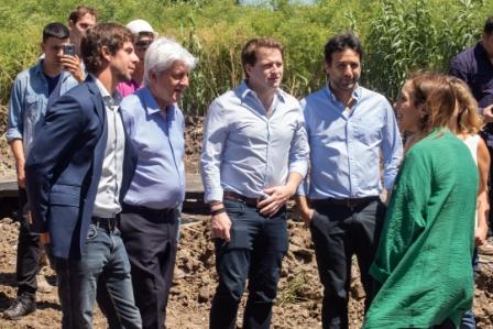 Andreotti y Vidal visitaron obras de entubamiento de un importante arroyo de San Fernando