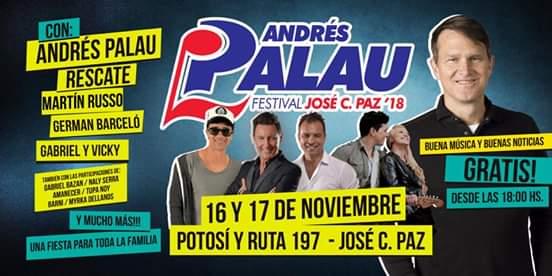Llega a José C. Paz el festival con Andrés Palau