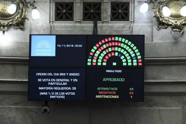 El Senado sancionó la ley de presupuesto 2019