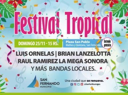 Vuelve la música popular, con una nueva edición del Festival Tropical de San Fernando