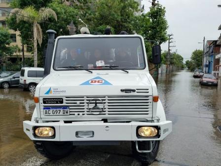 Titulo: El COEM de San Fernando sostuvo un operativo preventivo por la sudestada
