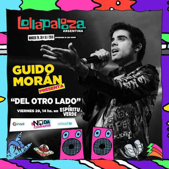 Guido Morán, artista y embajador del INADI,  se presentará el viernes 29 a las 14 hs, en el Lollapalooza con su show