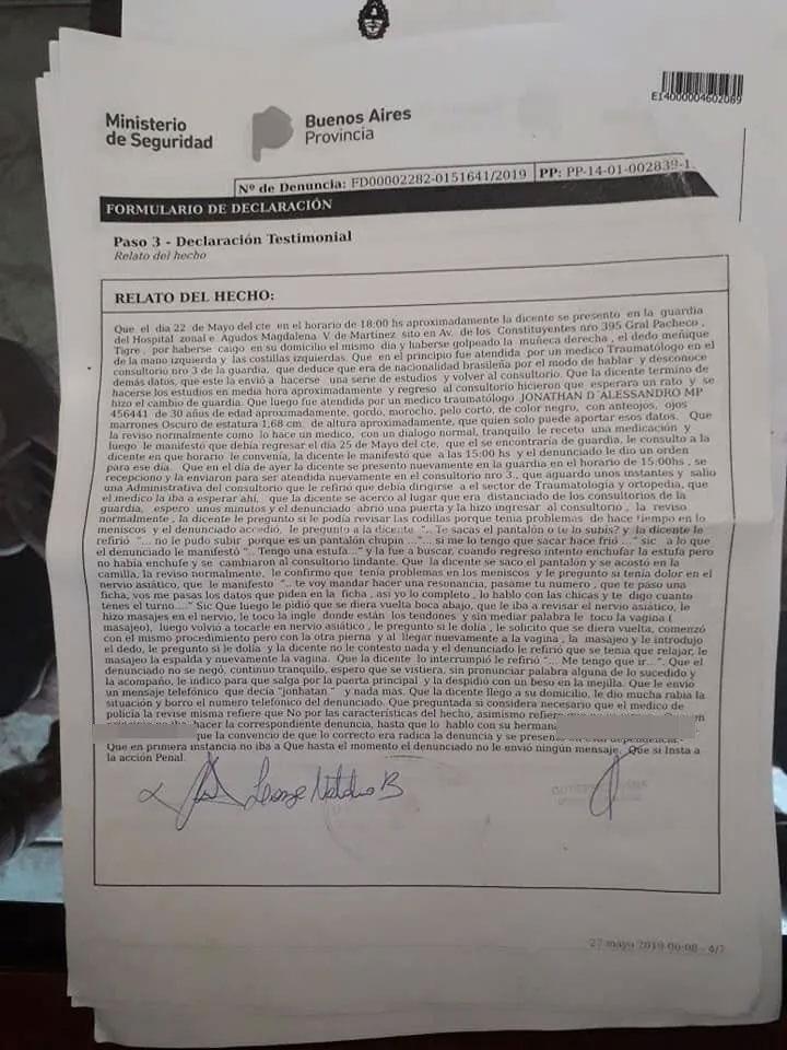 Denuncian por abuso a un médico del Hospital de General Pacheco - texto de la denuncia
