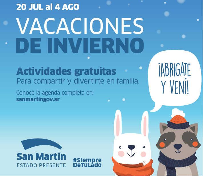 San Martín tendrá las mejores propuestas y actividades gratuitas en vacaciones de invierno