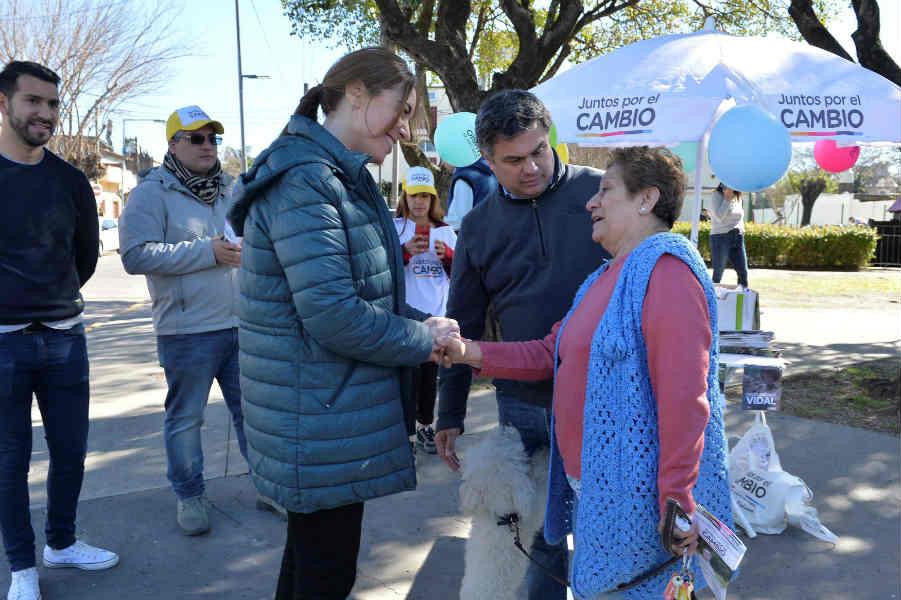 Vidal visitó de San Martín junto al precandidato a intendente, Santiago López Medrano