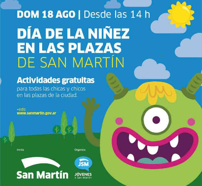 San Martín festejará el Día de la Niñez en todas las plazas de la ciudad