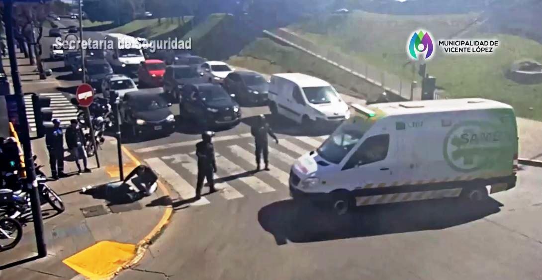 Una cámara de seguridad salvó una vida en Vicente López