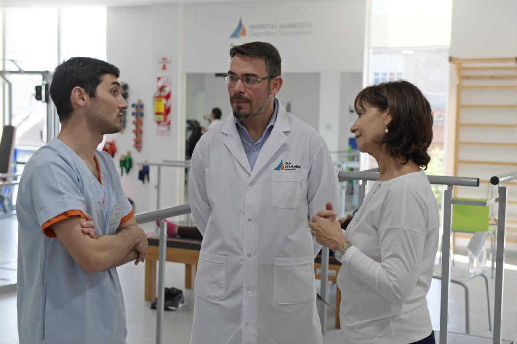 Alicia Aparicio recorrió el área de kinesiología del Hospital Municipal de San Fernando y contó su experiencia