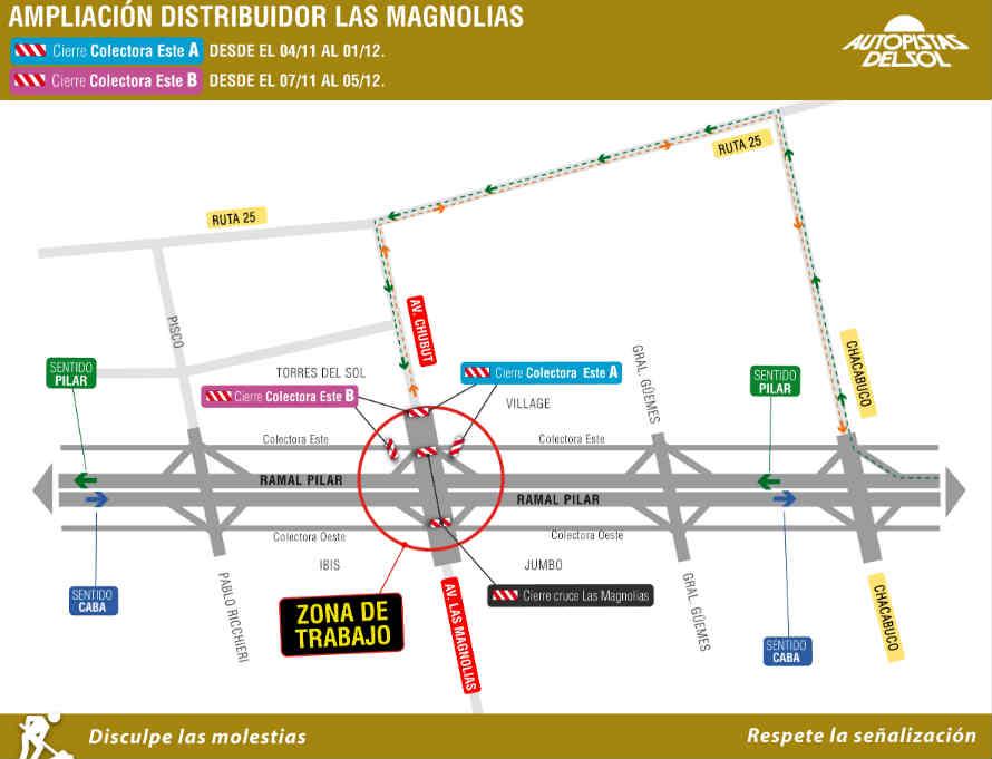 Cortes por ampliación del distribuidor Las Magnolias en Pilar