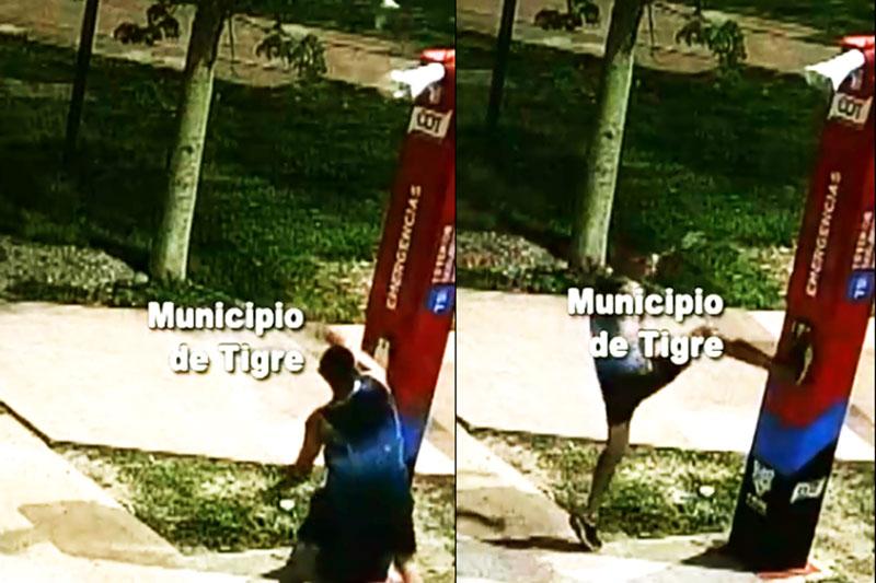 Vídeo: Ataca a piedrazos un tótem de seguridad y es detenido en Tigre