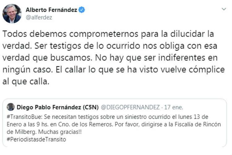 El presidente Fernández se suma al pedido de testigos por el siniestro donde perdió la vida Maximiliano Lazzo
