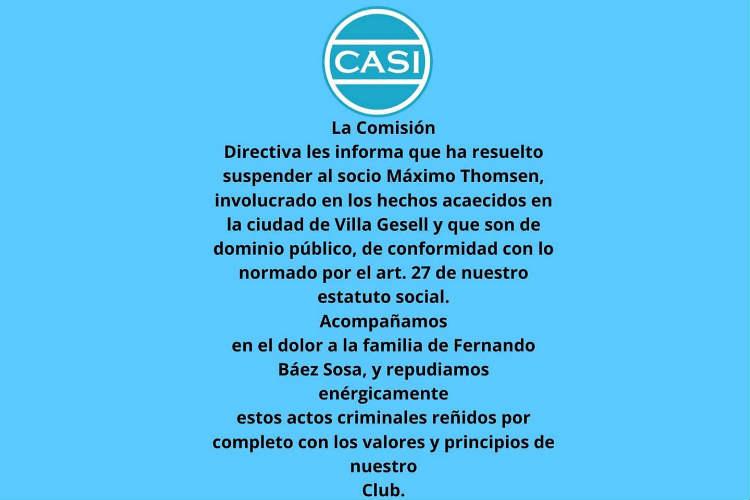 El club CASI suspendió a Máximo Thomsen imputado por el asesinato de Fernando Baez Sosa.
