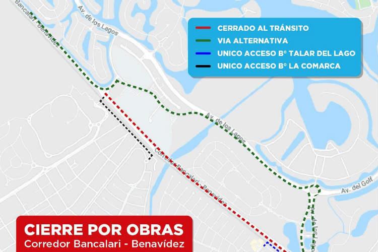 El corredor Bancalari Benavídez se encontrará cerrado al tránsito por obras