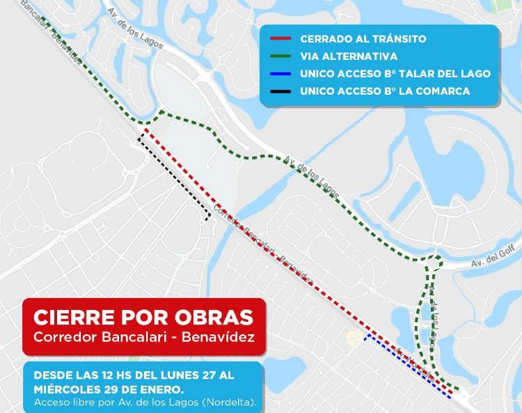 El corredor Bancalari Benavídez se encontrará cerrado al tránsito por obras.