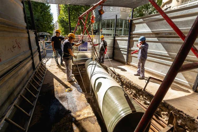 Malena Galmarini activó el plan de renovación de pluvio-cloacales de AYSA en la Ciudad