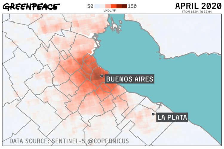 Según el monitoreo satelital analizado por Greenpeace, la contaminación del aire de la Ciudad de Buenos Aires, comenzó a crecer significativamente a partir de la segunda quincena de abril, como consecuencia del relajamiento de las restricciones de circulación tanto legales como de hecho.