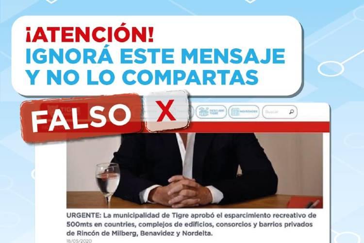 El Municipio de Tigre desmiente una información que circuló en Redes Sociales