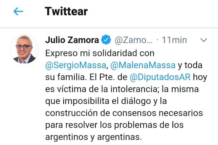 Julio Zamora expresó su solidaridad con Sergio Massa y su familia por las amenazas recibidas