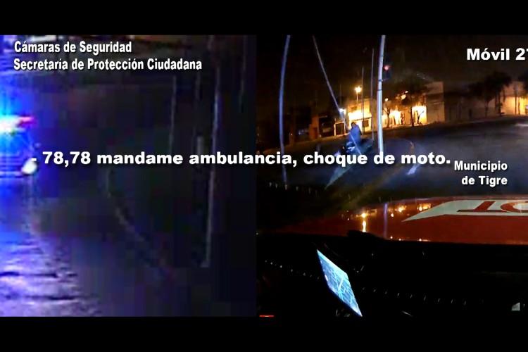 Las cámaras de Tigre registraron el violento choque de un motociclista