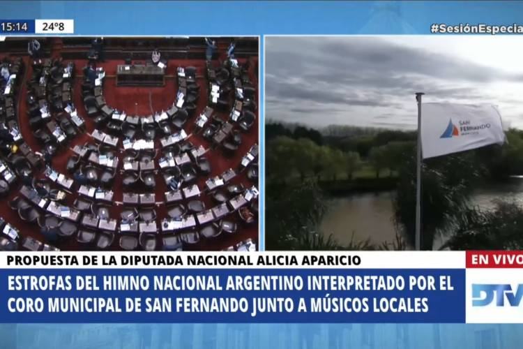 La Cámara de Diputados abrió su sesión con un Himno realizado con músicos e imágenes de San Fernando