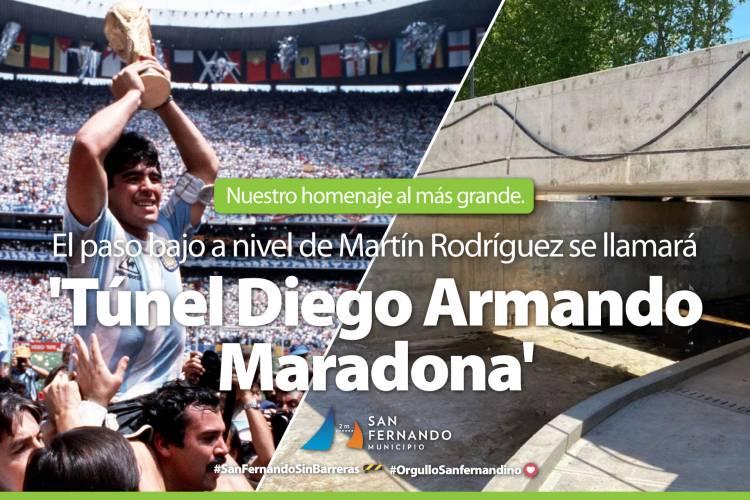 """Juan Andreotti anunció que se llamará """"Diego A. Maradona"""" el Túnel de la calle Martín Rodríguez"""