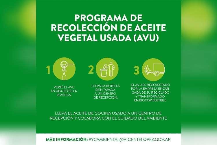 Programa de recolección de aceite vegetal usado en Vicente López