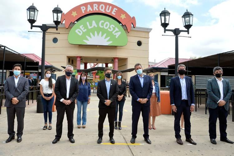 El Parque de la Costa formalizó su reapertura con la presencia Kicillof, Massa y Zamora