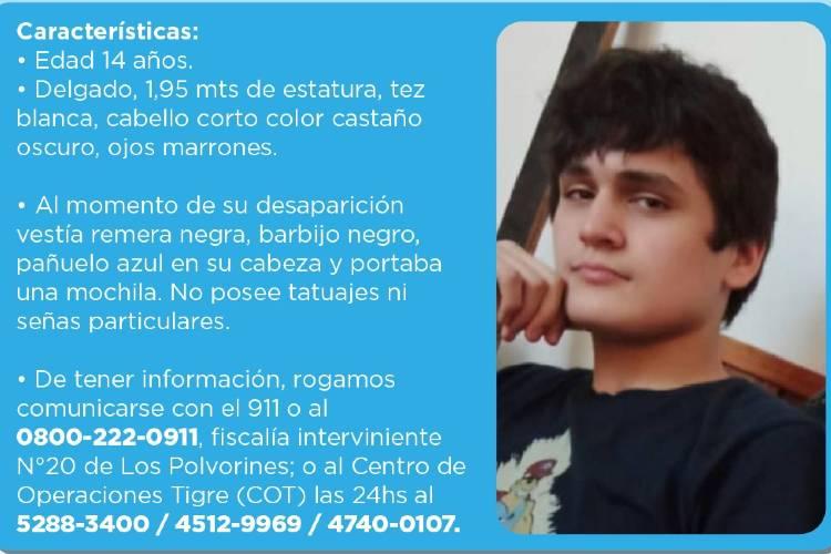 Comunicado del municipio de Tigre por el extravío de Ignacio Fielder