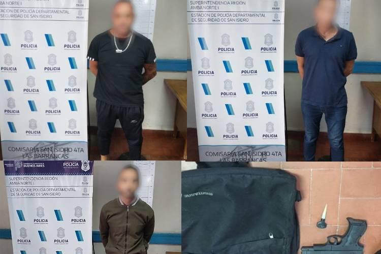 Detienen en San Isidro a tres delincuentes que asaltaban bancos